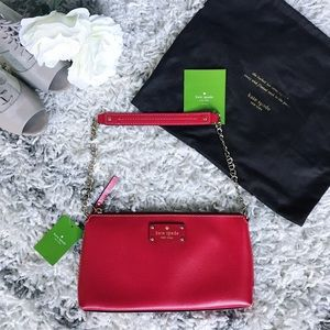 NWT Kate Spade Wellesley Red Clutch