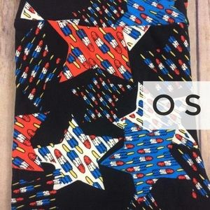 LuLaRoe Pants - OS Lularoe BLACK background Americana leggings NWT