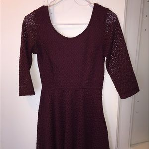 Lush red wine lace skater dress