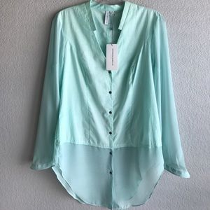 Katherine Barclay Tops - Aqua green sheer shirt top Size Small