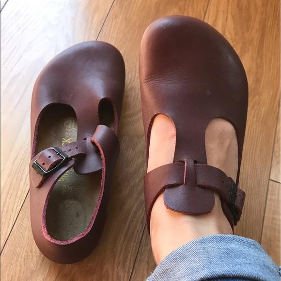 Birkenstock Shoes Paris T Strap Clog Burgundy Wine 38