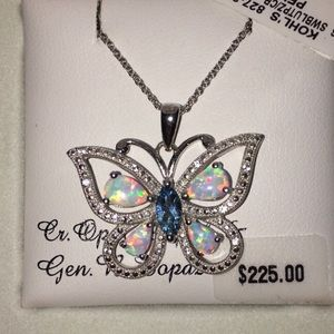 Opal, sapphire, and topaz butterfly necklace
