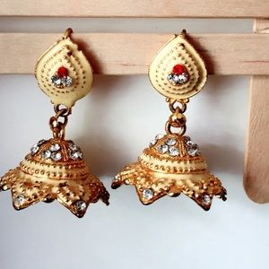 #A89 25% off Gold Painted Indian Jhumki Earrings