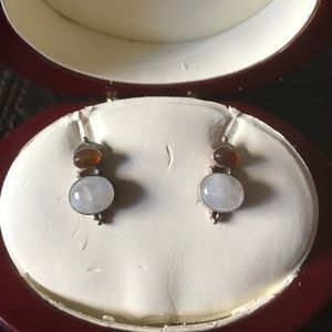 Silver post earrings with Moonstone and Amber.