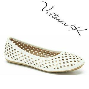 Tory K Shoes - Women Ballerina Flats, b-1812, White