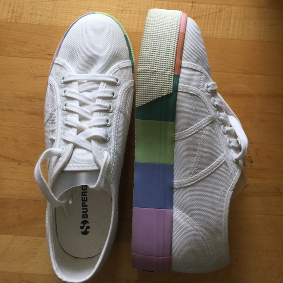 Superga White Canvas Rainbow Platform