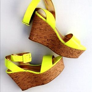 56b8433d625 BCBGeneration Shoes - NEVER WORN BCBG GENERATION NEON YELLOW WEDGES