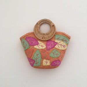 Handbags - Leaf pattern woven bag