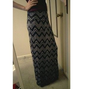 Black Patterned Maxi Skirt