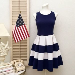 5th & Love Dresses & Skirts - 5th & Love Fit & Flare Stretch Poly Striped Dress