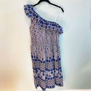 London Times One Shoulder Blue Ruffle Dress
