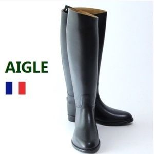 Aigle Shoes - Aigle tall rain boots black brooks brothers 8 39