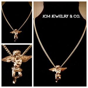 Other - 14K Gold Plated Micro Praying Angel w/ Thin Cuban