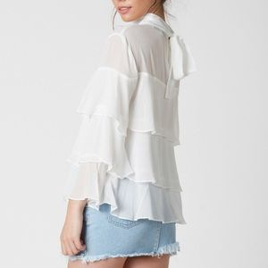 Tops - RUFFLE DARE MOCK NECK TOP in Ivory