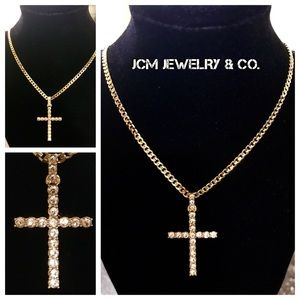 Other - 14K Gold Plate Swarovski Cross w/Gold Plated Chain