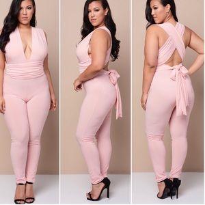 Pants - New Plus Blush Pink Convertible Multiway Jumpsuit