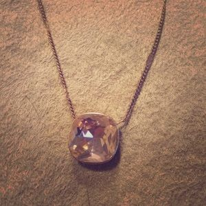 The Limited Large Stone Necklace Rose Gold