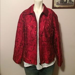 Anage Jackets & Blazers - Red Beaded Jacket