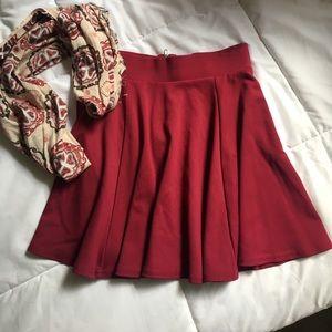 Dresses & Skirts - TRADED💕Maroon Skater girl pleated Mini Skirt!