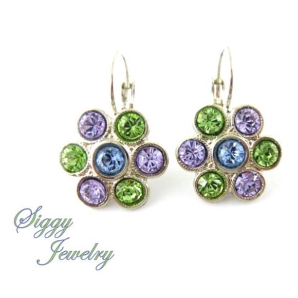 5e17c4dcc Siggy Jewelry Jewelry | Swarovski Crystal Flower Earrings Green And ...
