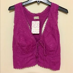 Free People Tops - Free People purple stretch lace up crop top XS