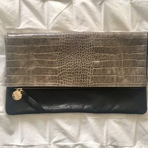 Clare Vivier Handbags - Clare V fold over crocodile embossed clutch