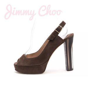 👠 Jimmy Choo brown suede Lexy sling back pumps