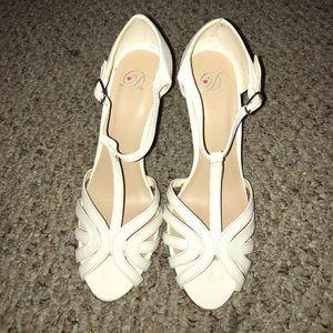 Girly White Strappy Heels