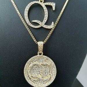 Accessories Quavo Style 14k Gold Plated Cz Qc Pendant
