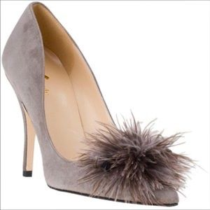 Kate Spade Lenette gray suede heels with feathers