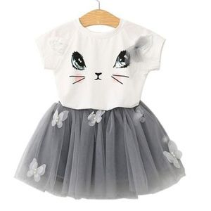 Cute Cat top + Tutu Skirt set