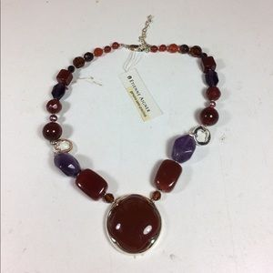 """Etienne Aigner 16"""" Chunky Purple Stone Necklace"""