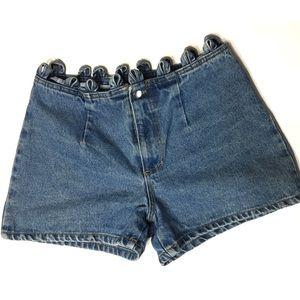 Vintage Pants - Vintage • Denim loop high waisted mom shorts