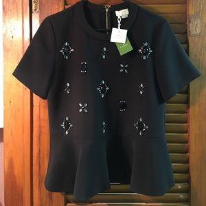 *NWT* Kate Spade Black Embellished Ruffle Top ♠️