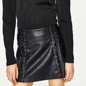 Zara Leather Lace Up Skirt *NEW*