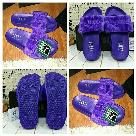 on sale 0aa66 e0ffc FENTY PUMA by Rihanna Fur Slide (Purple) NWT