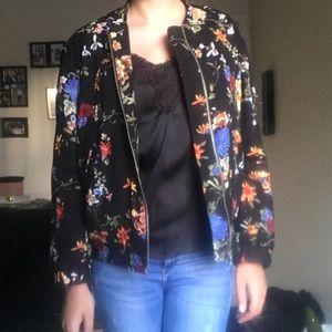 Zara Trafaluc Floral Bomber Jacket, size XS