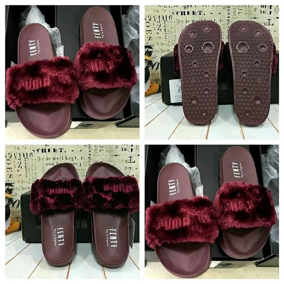 pretty nice 0bf1a 2c5d8 FENTY PUMA by Rihanna Fur Slide (Burgundy) NWT