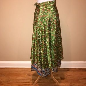 Reversible silk wrap maxi skirt one size