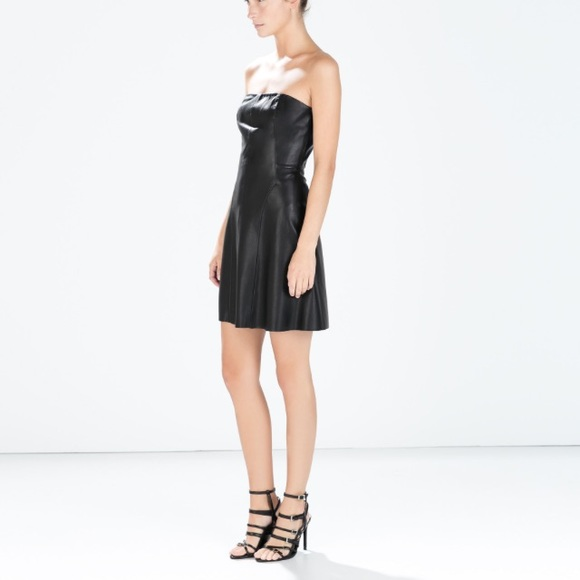 Zara Dresses | Faux Leather Strapless Dress