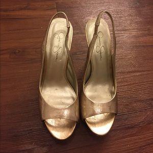 Metallic Gold Slingback Platform Heels