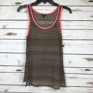 Express Tops - Express Brown Crochet Knit Sleeveless Tank