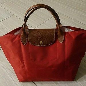 New Longchamp medium nylon handbag