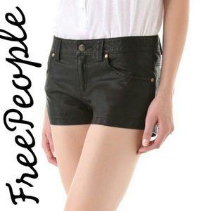 Free People Pants - Free People Black Vegan Leather Shorts