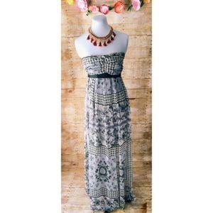 New Gorgeous Floral Strapless Maxi Dress