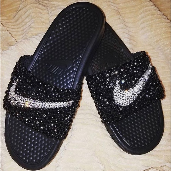 700df3d0e45c Custom Nike bling Swarovski and pearl slides