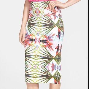 Floral and leaf Glamorous scuba midi pencil skirt