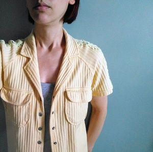 vintage 80's snap front ribbed cotton blouse