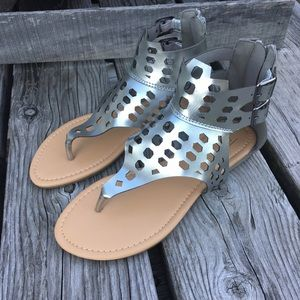 Adriana New York Shoes - 🆕List💫Silver Leather Caged Gladiator Sandal! NEW