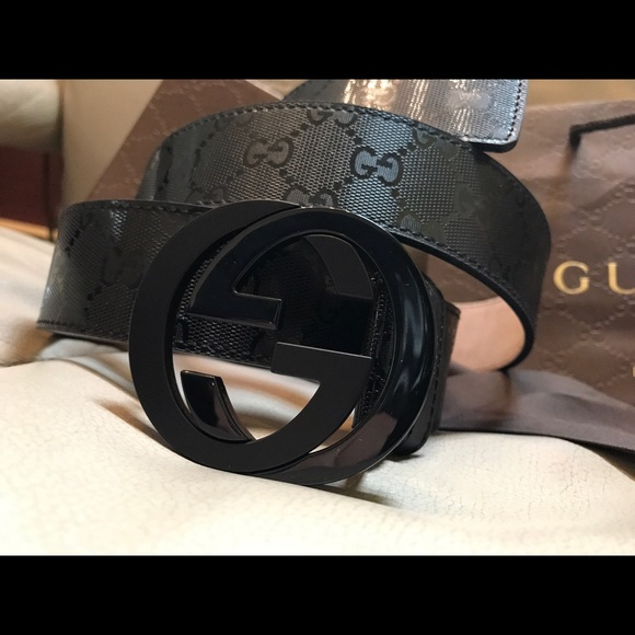 b610ec0a2 Gucci Accessories | Authentic Mens Belt Black Shiny Imprime | Poshmark